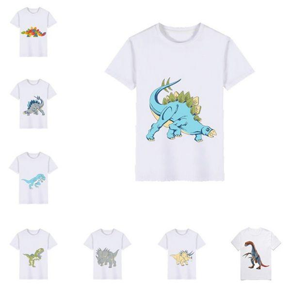 Enfants T-shirts Cartoon Dinosaure Imprimé Garçon T-shirts À Manches Courtes Fille Tees Bateau Cou Enfants Tops D'été Vêtements Pour Enfants 8 Modèles DHW3586