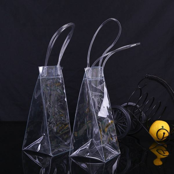 top popular Durable Clear Transparent PVC Champagne Wine Ice Bag Pouch Cooler Bag with Handle Fast Shipping WB729 2021
