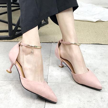 Elbise İlkbahar Yaz Kadın Elbise Ayakkabı Altın Ayak Bileği Kayışı Ayakkabı Orta Topuklu Kristal Ol Ofis Bayan Ayakkabı Pompalar Zapatos Mujer 6212
