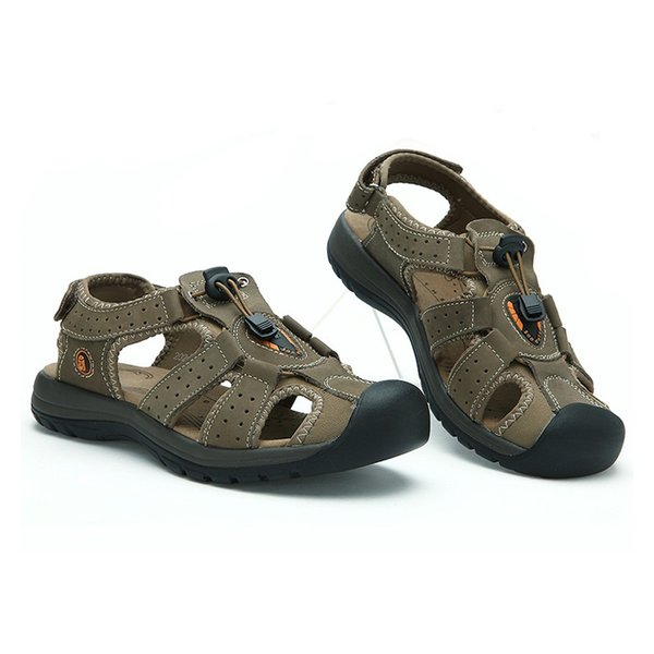 Summer Beach Men's Sandals Breathable Sandals Genuine Leather Shoes Man Causal Footwear Male Adult Plus Size 38-47 New Fashion