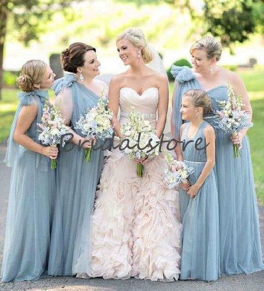 Dusty Blue One Shoulder Bridesmaid Dresses Full length Tulle Junior maid of honor dress With Beaded Sash Cheap Country Wedding Guest Gowns