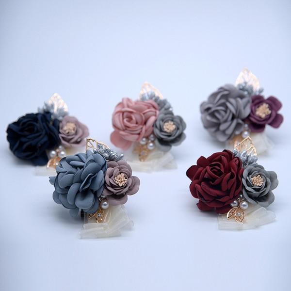 Braut Bräutigam Boutonniere Hochzeit Liefert Kreative Handgemachte Künstliche Rose Blume für Brautjungfer Dekorative Blumen für Geschenk