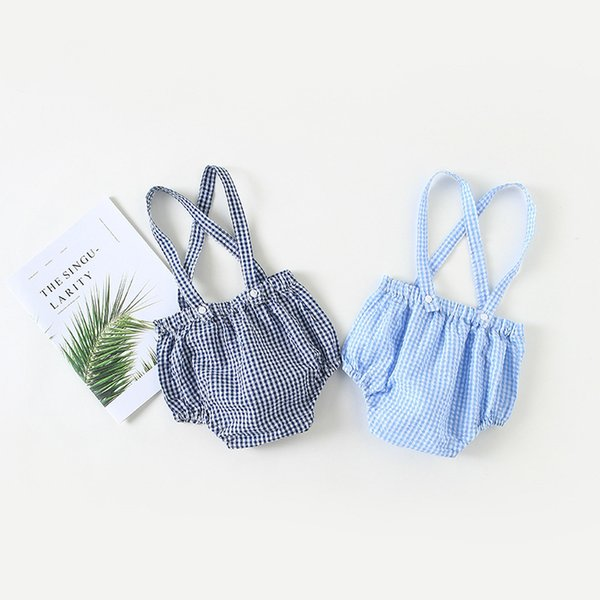 Newborn Kids Baby Girls Overalls Plaid Romper Suspenders Brace Pants Shorts Baby Clothes Clothes Navy and Sky Blue Drop Shipping