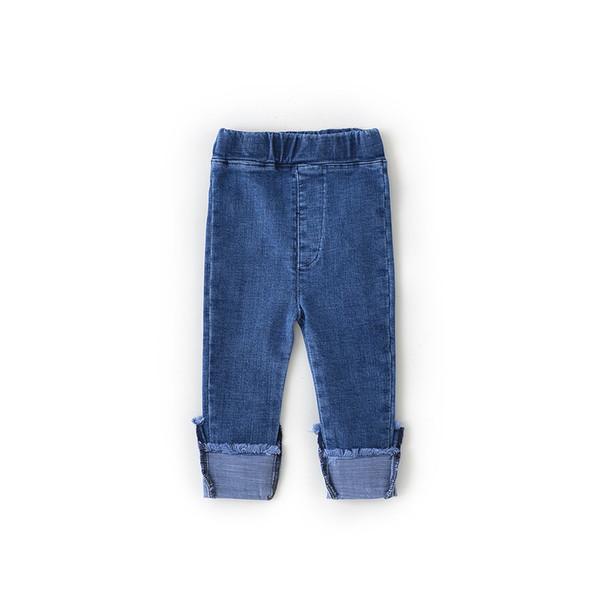 2019 Yeni Stil Bebek Kız Kot Güzel Çocuklar Pantolon Rahat Pantolon Çocuk Giysileri Kore Manşet Denim Pantolon Bebek Kız Giyim