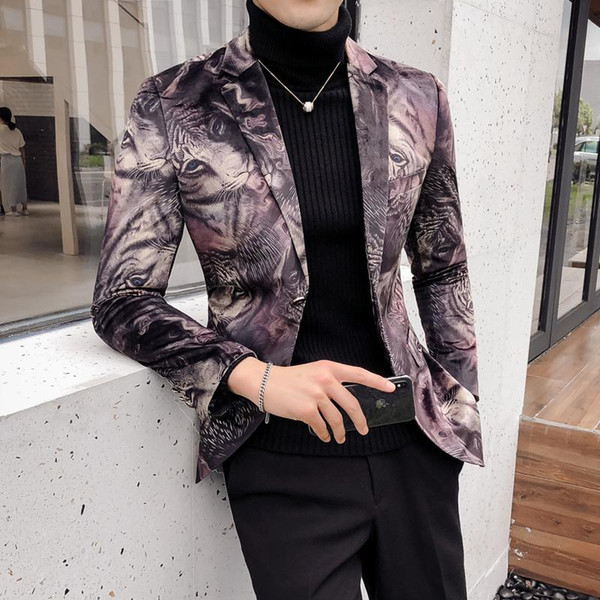 Animal Print Blazers Mens Casual Suits Mens Stage Clothes Blazer Masculino Slim Fit Americana Hombre Club Veste Mariage Autumn