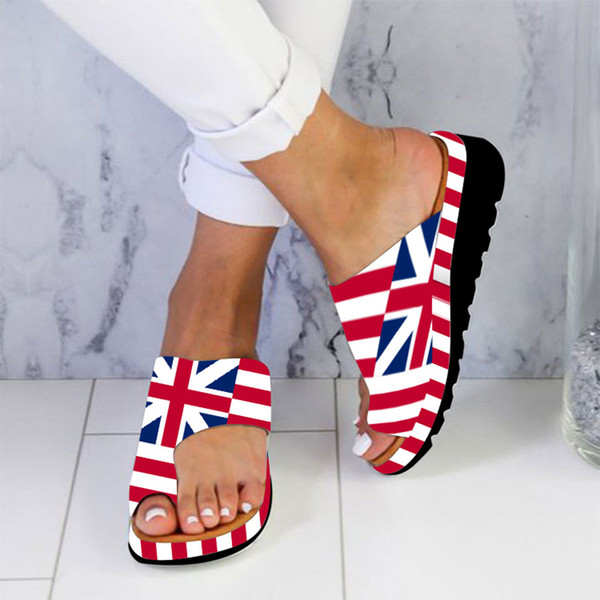 Independence Day Women Flats printing Wedges Slipper Open Toe Ankle Beach Shoes Roman Sandals Plus Size Summer Women Slippers