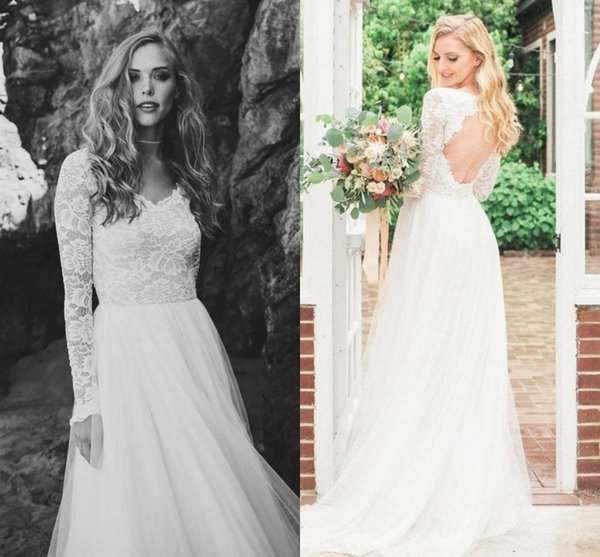 Backless Beach Wedding Dresses Long Sleeves Lace And Tulle Bridal Gowns V-neck Cheap 2019 Plus Size Vestidos De Novia