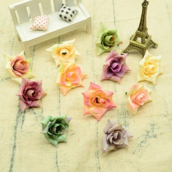 10pcs soie mini-roses fleurs artificielles pour le mariage d'accessoires de décoration bricolage cadeaux de chapeau boîte Guirlandes faux fleurs en plastique