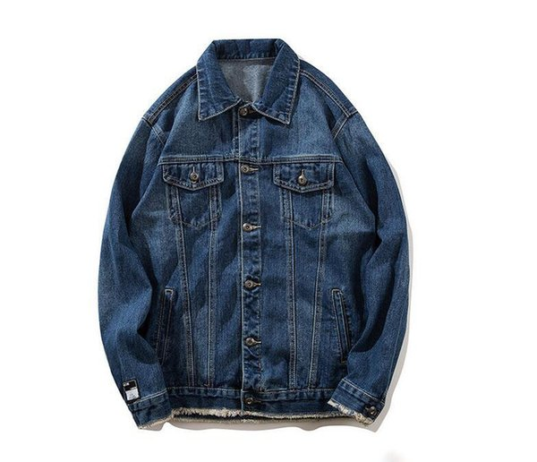 Unique Vintage Men Printed Denim Cotton Jean Jacket Coats Hip Hop Casual Denim Jackets Designer Male Fashion Streetwear