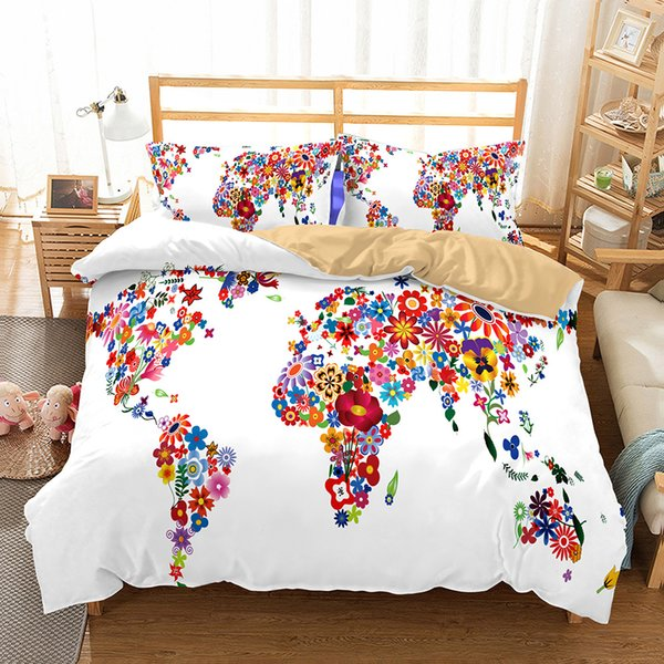 World Map Bedding Set High Definition Print Quilt Cover Single Queen King  Double Size Funda Nordica Cama 135 Comforter Set 7 Bedding Discount ...