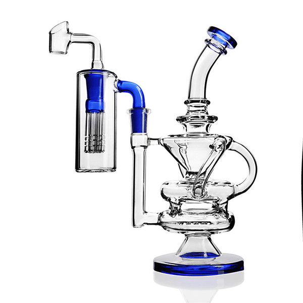 Recycler Glas Wasser Bongs Tupfen Rigs Percolater Tupfen Rig mit Glas Bong Wasserpfeife Recycler 14mm Glas Banger Ash Catcher