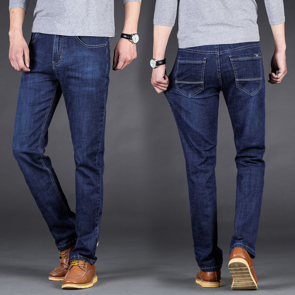 Moda Masculina Casual Solto Jeans 2019 Homens Marca Em Linha Reta Alta Stretch Men Mid Cintura Calças Pretas Azul Plus Size