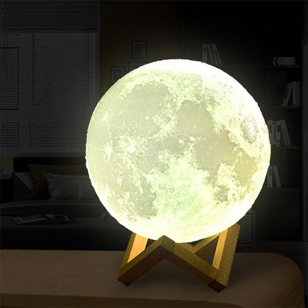 Lampada di luna ricaricabile USB con stampa 3D 16 colori modificabili LED Luce della luna notturna Interruttore di tocco creativo Luce di luna per luci regalo per la decorazione domestica