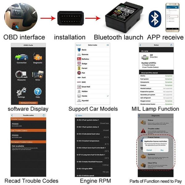 Bluetooth HH OBD ELM327 V2.1 Erweiterte MOBDII OBD2 EL327 BUS Check Engine Auto Selbstdiagnosescanner Codeleser Scan Tool Interface Adapter
