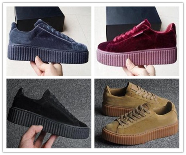 Velvet New Rihanna X Suede Creepers Rihanna Creeper Running Shoes Grey Red Black Women Men Fashion Cheap Casual Shoes Sneakers