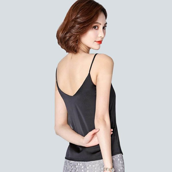 2019 New simulation silk summer vest top female silk V collar sleeveless ice silk pure color Suspender