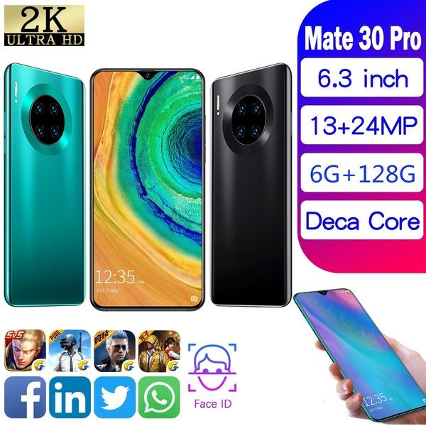 top popular Android Smartphones Mate30 Pro Smartphone 6.3 Inch Mobielphone 4G Dual SIM Cards Support T Card (6GB RAM+128GB ROM+Free Gift 16GB TFCard ) 2019
