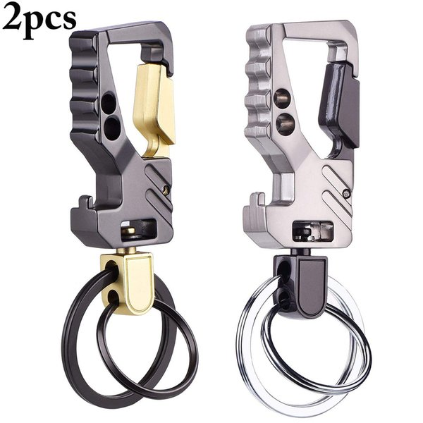 2pcs Beer Bottle Opener Keychain Pocket Zinc Alloy Key Chain Metal Fashion Multifunctional Men Car Play Key Ring Tool