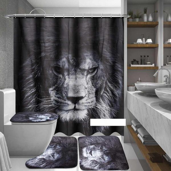 Tiere gedruckt Duschvorhang Polyester Lions Schwarz Sockel Teppich Deckel Toiletten-Abdeckung Badmatte Vorhang Wohnkultur