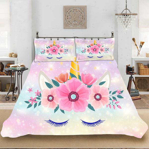 Cute Flower Unicorn 3D Print Set biancheria da letto per bambini Incl. Copripiumino Federa stampa Tessili per la casa