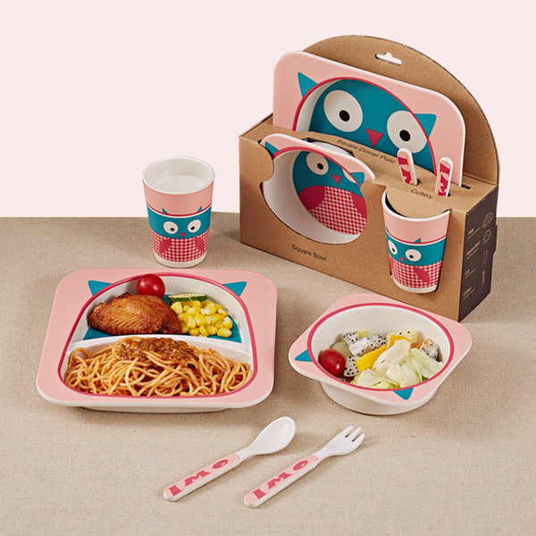 5pcs/set Cartoon Animal Plate+bow+fork+cup Baby Dinnerware Feeding Set Bamboo Fiber Baby Lovely Children Container Tableware Set J190712