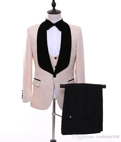 Moda Champagne Embossing Noivo Smoking Preto Lapela Padrinhos Homens Vestido De Casamento Homem Jaqueta Blazer 3 Peça Terno (Jacket + Pants + Vest + Tie) 66