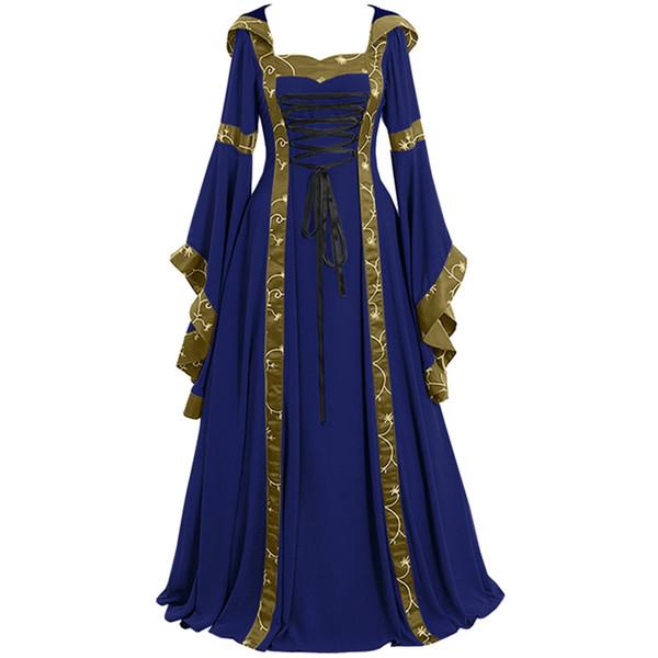 Plus Size Sommer Kleid Frauen 2019 Vintage keltische mittelalterliche bodenlangen Renaissance Gothic Cosplay Kleid Frauen Robe femme