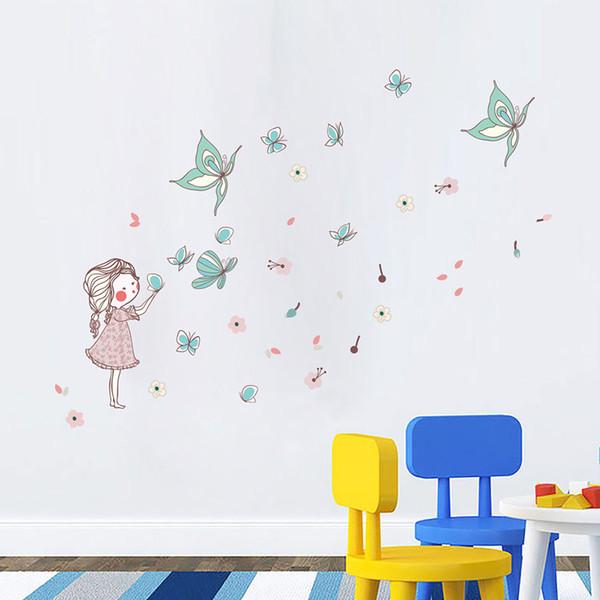 Acheter Cartoon Petite Fille Papillon Volant Creative Stickers Muraux  Chambre Pour Enfants De La Maternelle De La Mère Et De La Série Bébé  Stickers ...