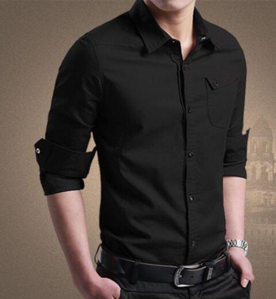 Gli uomini dimagriscono le camice di vestito Designer Fashion Business Maschio Camicia Maniche lunghe Stand Collar Top