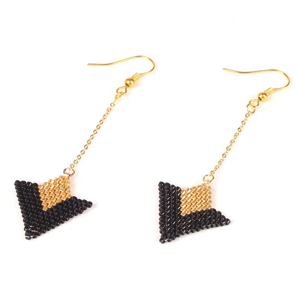 Shinus 5pair/lot Triangle Earrings Gold Chain Black Gold Delica MIYUKI Earring 2019 Women New Handmade Woven Gifts Wgolesale