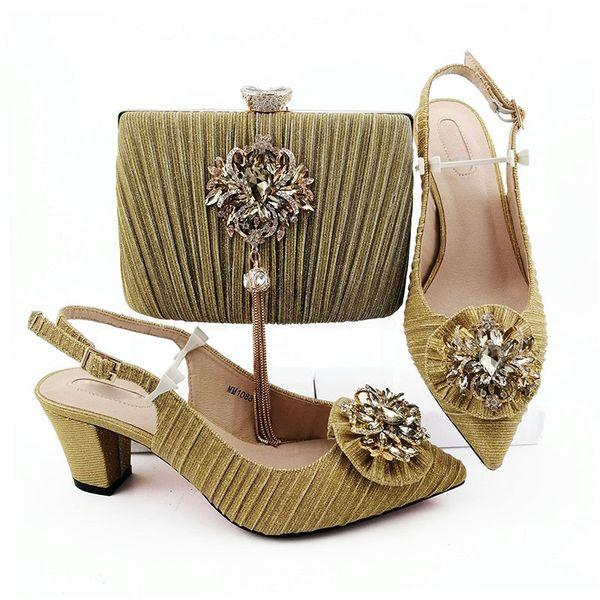 Med Heels 6.5cm Damen 2019 New Summer Gold Afrikanische Schuhe Und passende Tasche Nigerianischer Schuh Und Clutch Bag Passender Schuh
