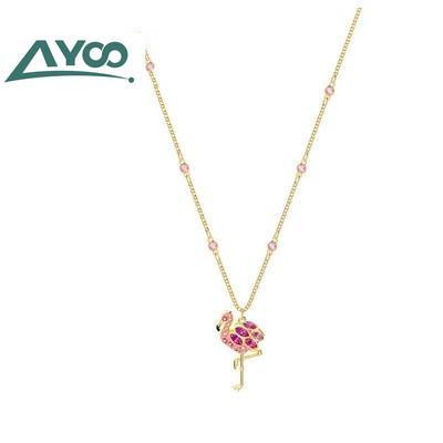 ayoo swa flamingo silver necklace fashion women pendant tropical ladies necklace