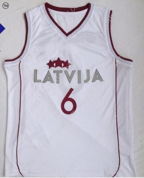 Barato personalizado Latvija Basketball Jersey Kristaps Porzingis 6 Cosido en blanco Personalizar cualquier número de nombre HOMBRE MUJER JERSEY JOVEN XS-5XL