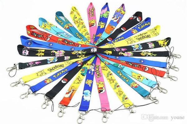 Kann heiße Karikatur pikachu Abzugsleine Keychain Schlüssel Identifikation-Abzeichen-Halter-Schutzipod-Handy iphone VIP-Durchlaufbügel 13colors wählen