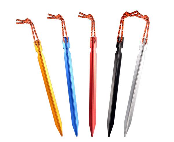 10 pcs Tent Pegs 18 cm Alumínio Estaca Da Barraca com Corda Ao Ar Livre Gadgets Prego Peg Tenda Acessórios Equipamento