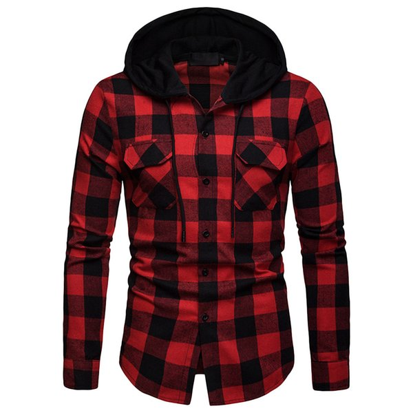 feitong mens long sleeve plaid printed shirts male causal cotton slim hoodie blouse shirts camisa masculina plus size 2018, White;black
