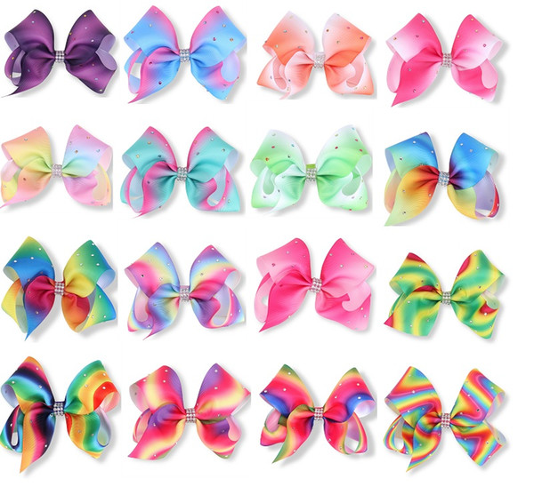 20Pcs 12CM Girls Rainbow Full Rhinestone Hair Clip Bowknot Center With Rhinestone Barrettes Hair Bow Beautiful HuiLin AW09