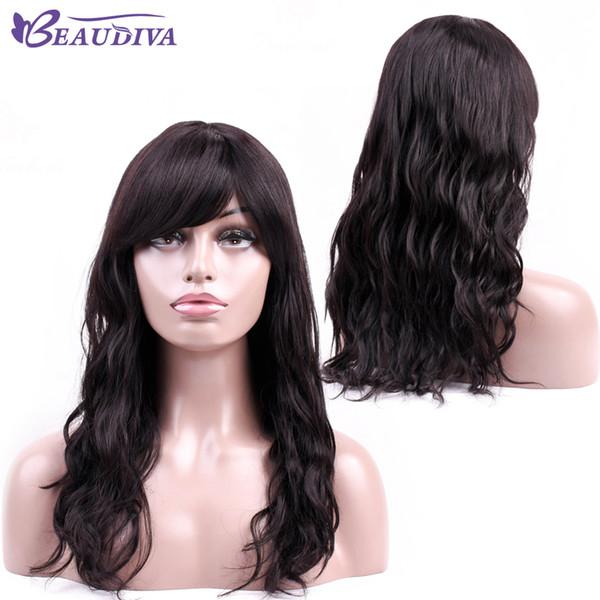 Color natural Negro sedoso Recto Largo Pelucas de cabello humano Sin cordón para las mujeres Calor pelucas sin cola con flequillo Beau Diva