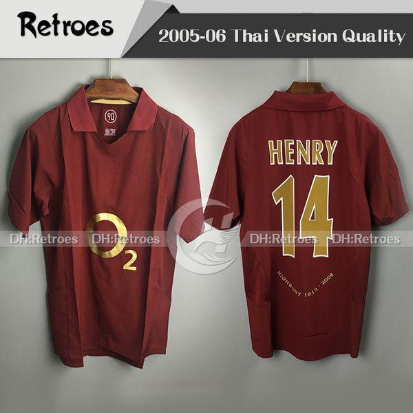 2005 2006 Gunner 레트로 축구 유니폼 Highbury 05 06 Thierry 14 # Henry Bergkamp Classic Camisa Football Shirts