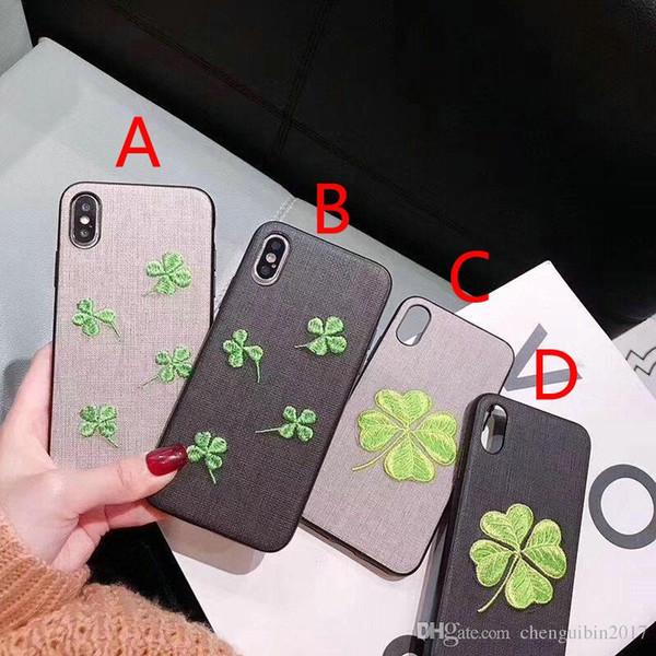 couverture de cas de téléphone quatre trèfle pour iphone Xs max Xr X 7 7plus 8 8plus 6 6plus TPU + PC