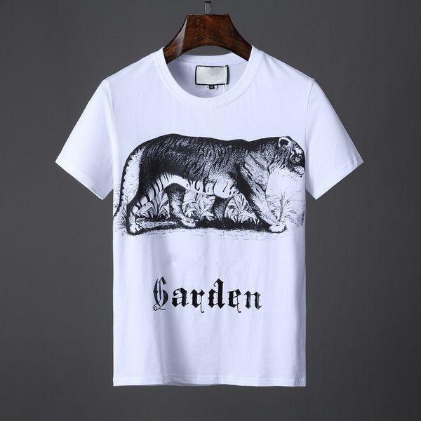 19ss Sommer Brief garten Tiger Print T-shirt Männer Baumwolle Top Tees Kurzarm Lässige T-shirts Designer g T-shirts Luxus Hip Hop