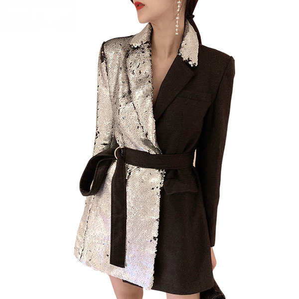 High Street Patchwork Sequin Blazer Coat Tuta manica lunga femminile Colour Colour Casual Suit Autunno Lace Up Slim Blazer