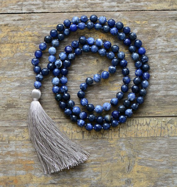 Meditation Necklace 8mm Natural Faceted Sodalite Soft Tassel Necklace Women Lariat 108 Beads Mala Necklace Dropshipping J190531