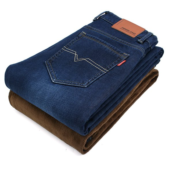 2019 Inverno Mens Stretch Jeans caldo pile flanella foderata di qualità Denim Jean pantaloni Size 28-40 marchio Black Blue Jeans per la Mens