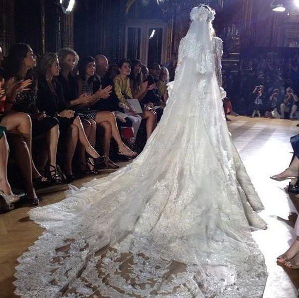 Luxry Zuhair Murad 2 Tiers Long 3 Cattedrale M del bordo del merletto nuziale Mantilla velo da sposa libero pettine