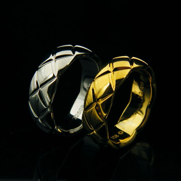 UHotstore Nueva moda 316L anillo de acero de titanio joyería de boda Estrecho 18K plateado, oro, anillo de pareja de oro rosa Envío gratis