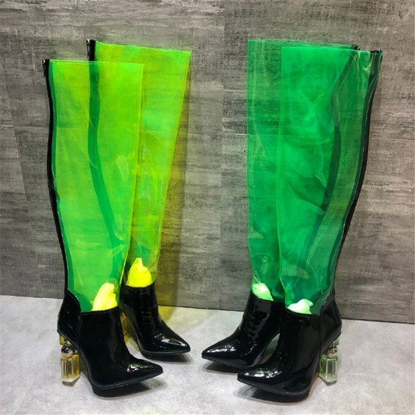 New Design PVC Patchwork Over The Boot Women New 2019 Point Toe Crystal Strange Heel With Metal Decor Catwalk Long Booties