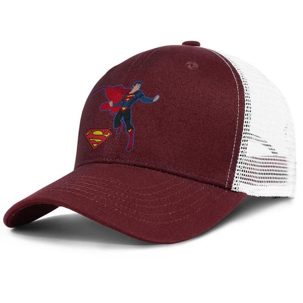 Overkill Superman Design burgundy mens and womens trucker cap baseball cool custom sports hats