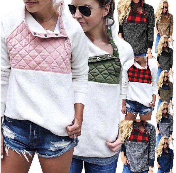 best selling Women Fleece Sweatshirts Buffalo Check Sherpa Pullover Oblique Button Collar Soft Warm Coats Winter Patchwork Hoodies Jacket GGA2791