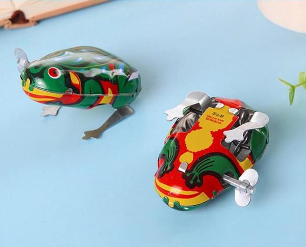 Klasik Çocuk Oyuncak Clockwork Kalay Kurbağa Jumping Frog Oyuncak Bebek Çocuk Oyuncak Yenilik Gag Oyuncak Wind-up Oyuncak